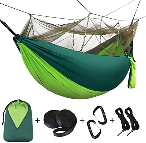 1-2 Person Camping Hammock with Mosquito Net Portable Parachute Hammock Sleeping Hammock Bed Swing Travel Hammock Support 660lbs for Outdoor Hiking Backpacking Garden Beach Green
