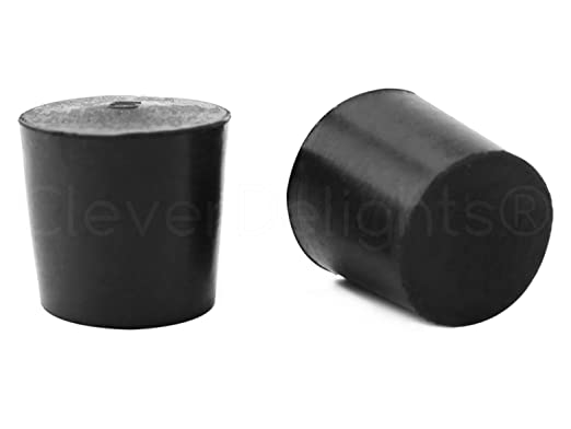 White Lab Plug #5 Size 5-29mm x 22mm 6 Pack 28mm Long CleverDelights Solid Rubber Stoppers