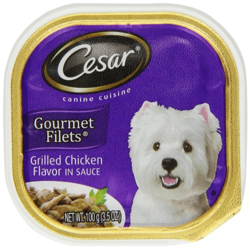 - Cesar Canine Cuisine Gourmet Filets in Sauce Grilled Chicken Flavor for Small Dogs, 3.5-Ounce Trays (Pack of 24)