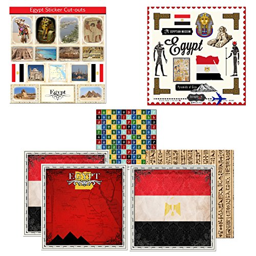 emed Paper & Stickers Scrapbook Kit, Egypt Sightseeing (Red Scrapbook Kit)
