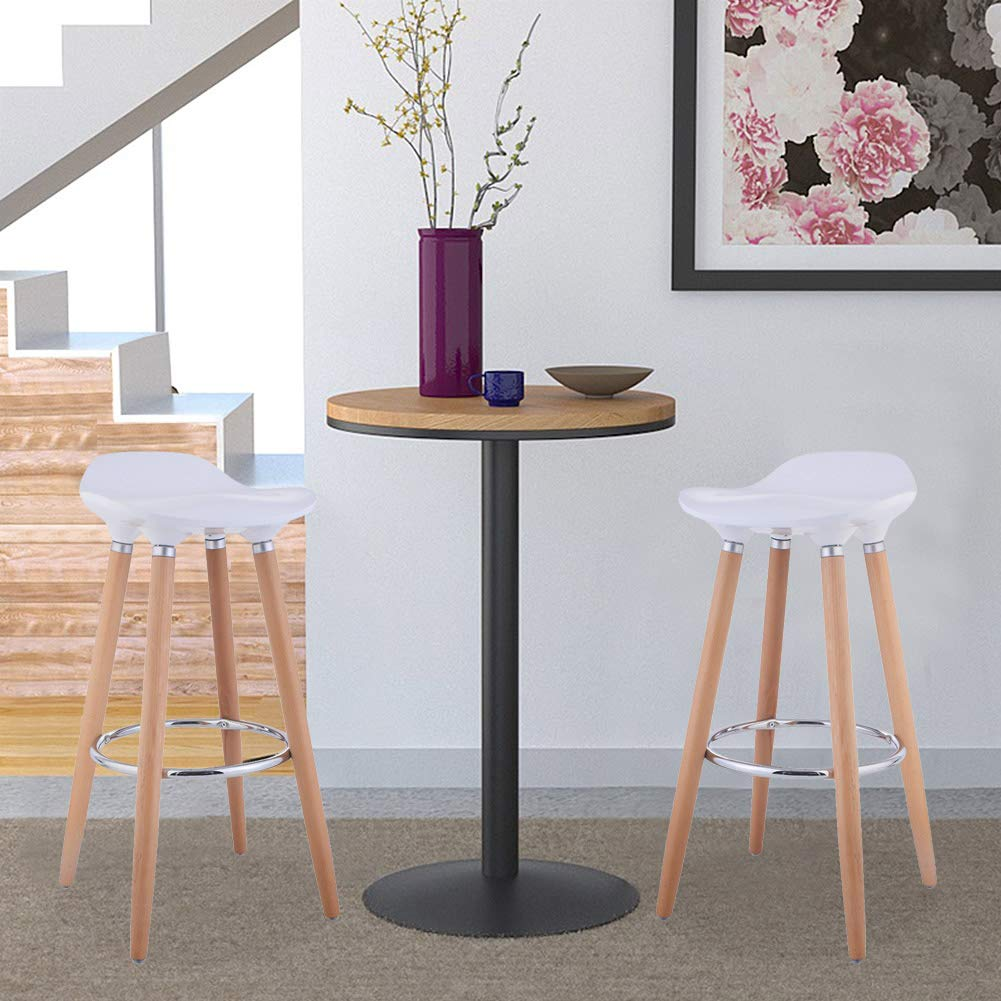 Office Guest Reception Chairs, WATERJOY Set of 2 ABS Kitchen Breakfast Barstools Modern Counter Height Bistro Pub Bar Chairs with Wooden Legs White