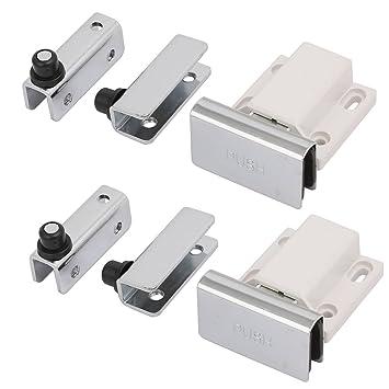 blanco sourcing map cerradura de cerrojo de la puerta cierre deslizante sin llave de pl/ástico de 2con bot/ón de interruptor w