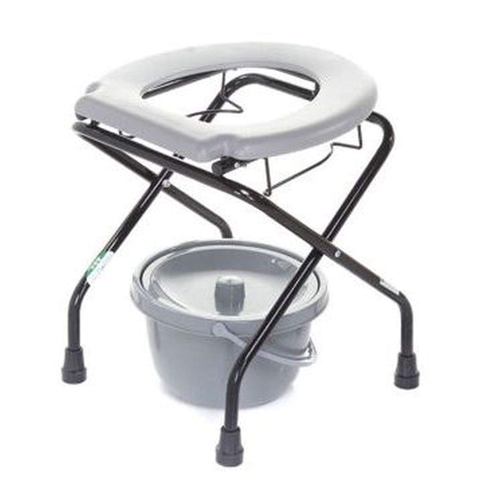 Portable Folding Toilet Commode with Bucket. Steel Frame. Bedside or Camping