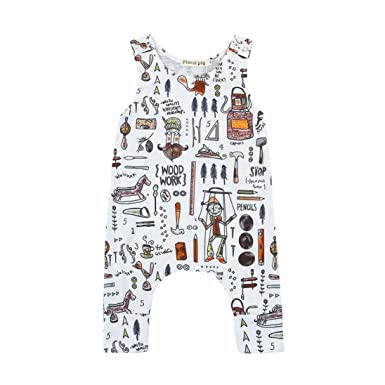 Toddler Kids Infant Baby Girls Off-Shoulder Romper Clothes,Sleeveless Cartoon Cats Print Rompers Jumpsuit 0-24 Months