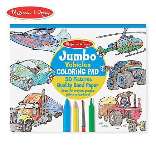 Melissa & Doug Jumbo Coloring Pad: Vehicles - 50 Pages of White Bond Paper (11 x 14 inches) ()
