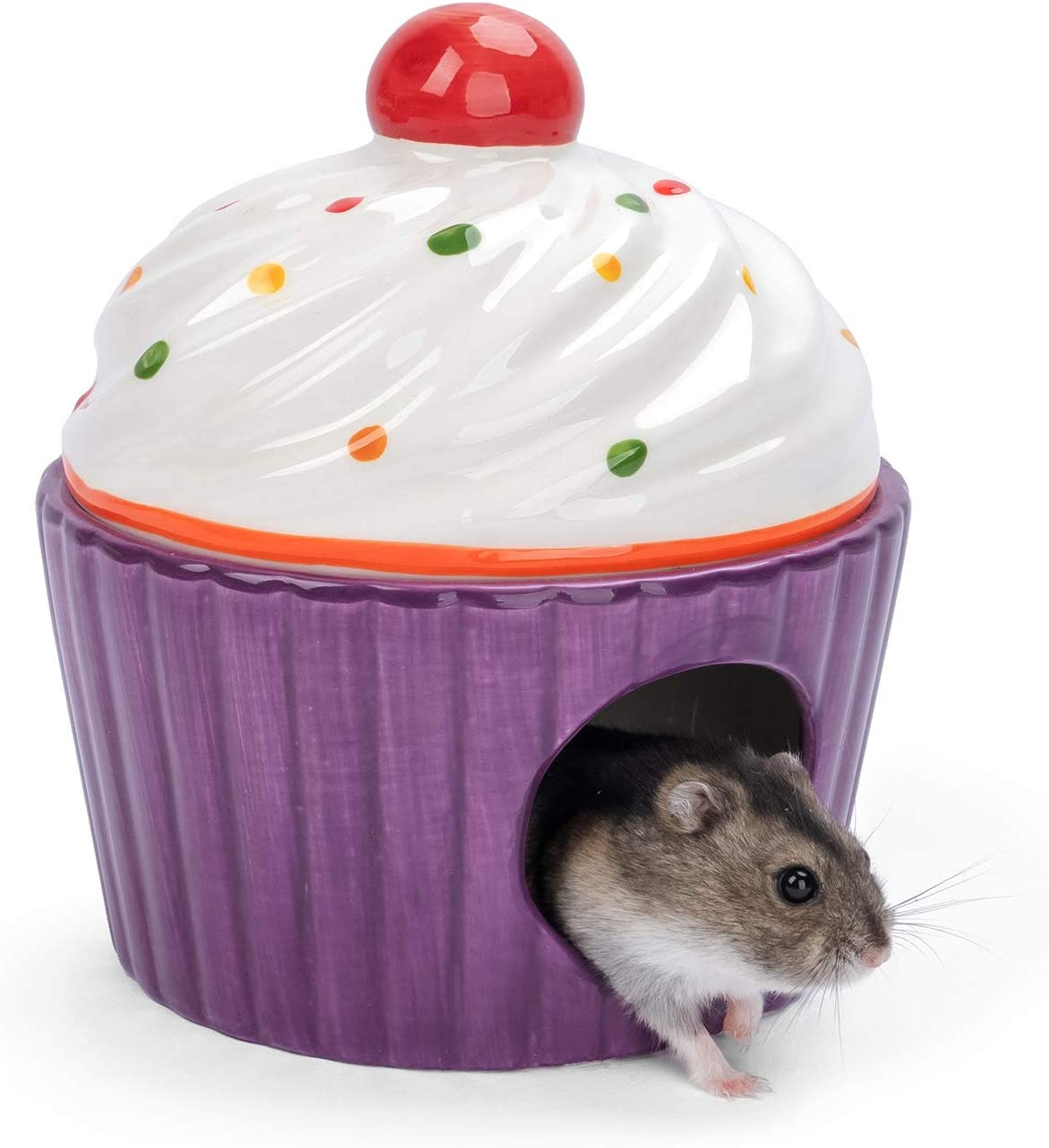 Niteangel Ceramic Dwarf Hamster House - Cute Small Hideout & Cool Bed for Robo Hamsters Gerbil Mice or Other Similar-Sized Small Animals
