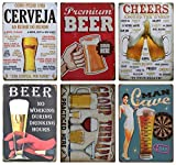 Beer Retro Tin Metal Sign for Home Decoration 6pcs 30cm20cm (7.8711.81inch)