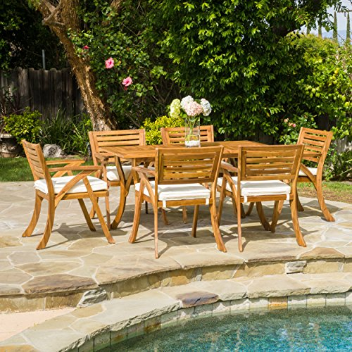 CoastSide Outdoor Patio Furniture 7 Piece Natural Finish Acacia Wood Outdoor Dining Set (Acacia Furniture)
