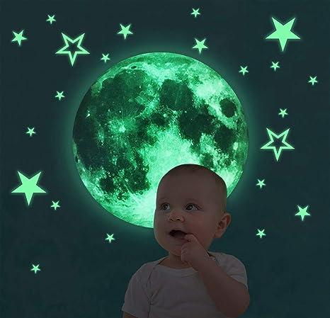 Malaxlx 30cm Luna Adesivi da Parete Fluorescenti e brillanti al buio 26 Pezzi Stelle Decorazione da Parete Regalo di Feste Natale Compleanno per Bambini Casa Camera da Letto Soggiorno
