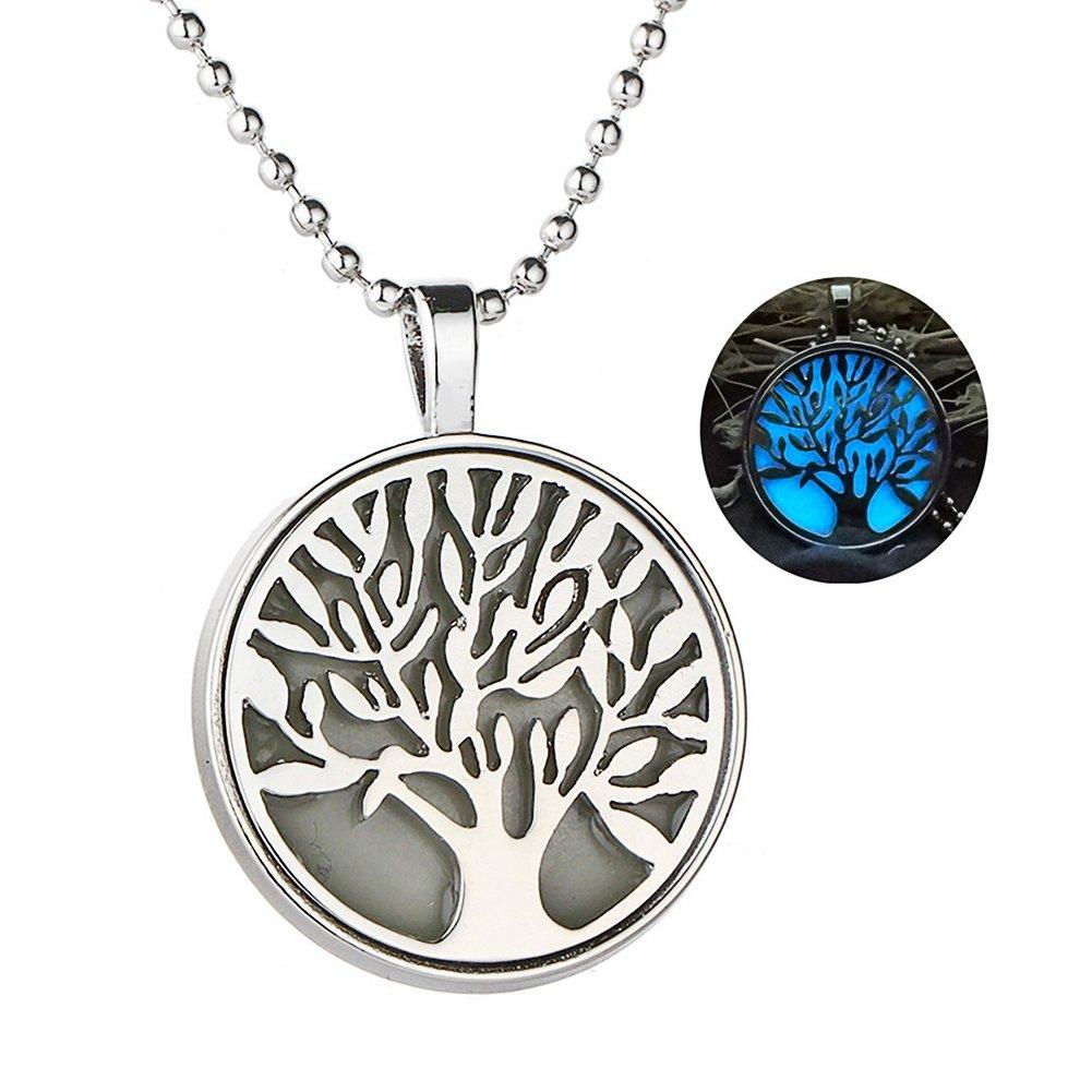 AIUIN Collier pour femme avec pendentif phosphorescent demi-lune avec pochette /à bijou motif arbre de vie cisel/é coeur