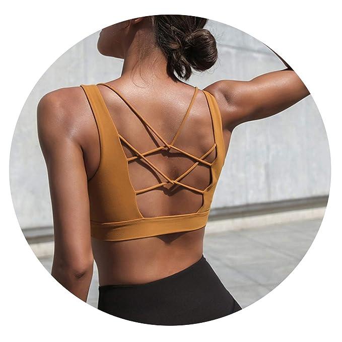 2019 Women Sexy V Collar Yoga Bra Back Cross Hollow Design ...