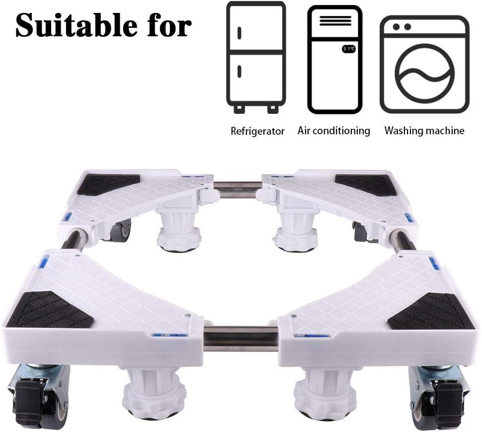 SMONTER - Soporte móvil universal ajustable para secadora, lavadora y refrigerador, 4 ruedas + 4 pies, blanco
