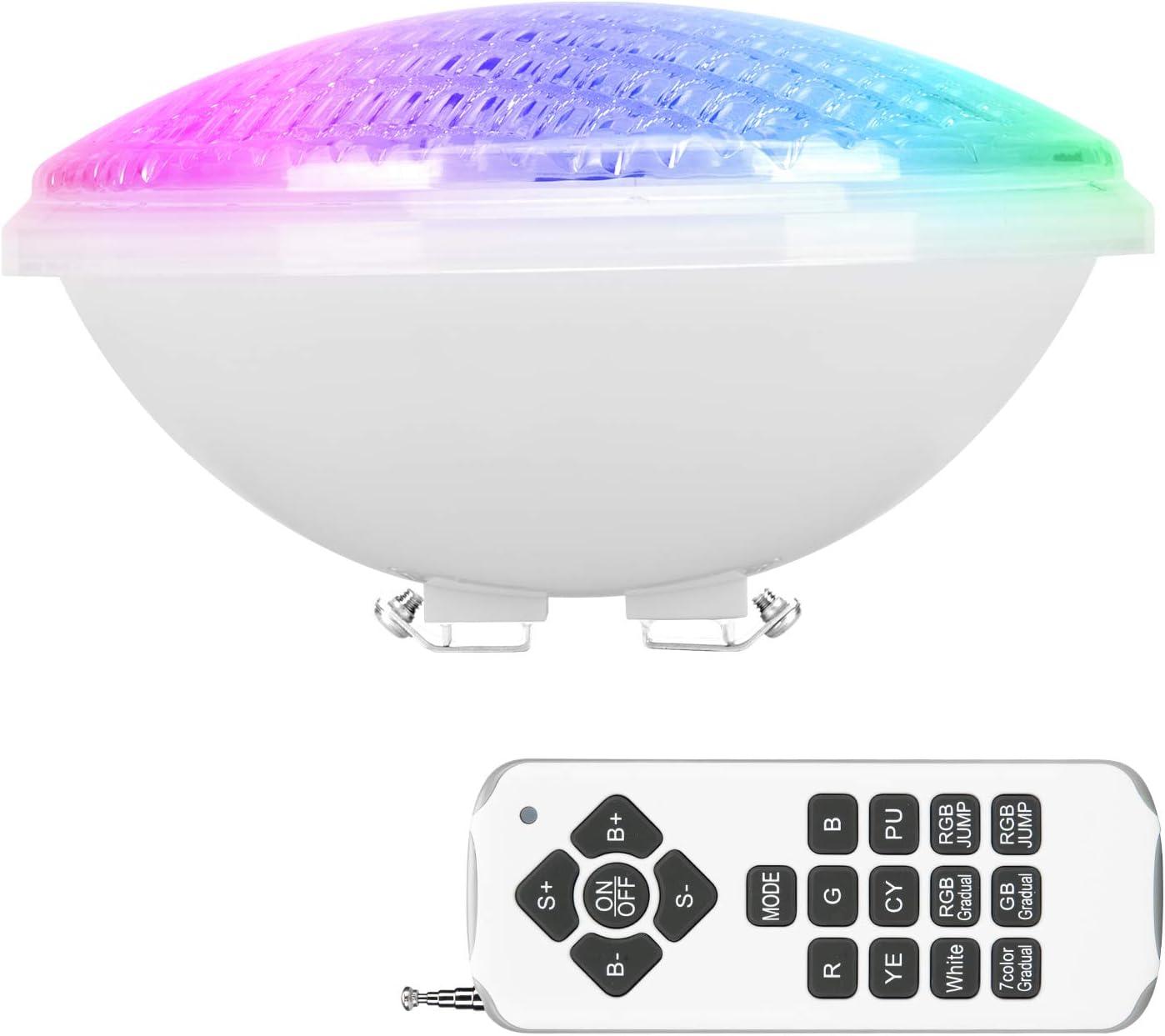 LEDMO RGB Luz de Piscina, 40W Luces LED para Piscina PAR56, Iluminación de piscinas con Control Remoto, 12V AC/DC Impermeable IP68 Luces de piscina