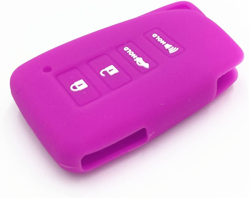 Ezzy Auto Black and Purple Silicone Rubber Key Fob Case Key Covers Key Jacket Skin Protector fit for Lexus