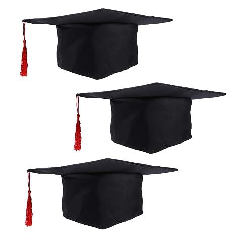 come ordinare lussureggiante nel design design innovativo LUOEM 3 x Cappello da laurea per bambini Costume Accessorio Cappellino da  dottore con nappa rossa per bambini
