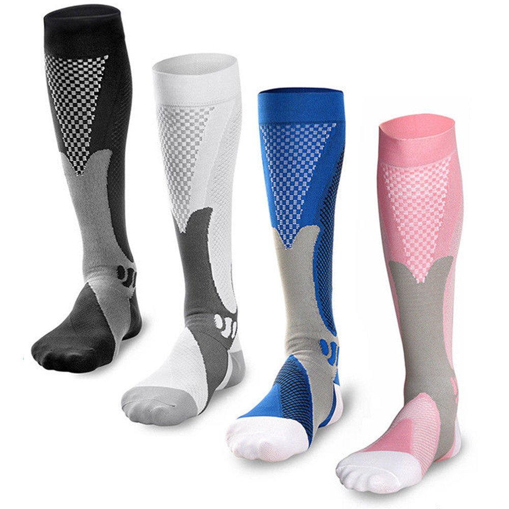 Medias de Compresión 4 Par Calcetines de Compresión para Hombres y Mujeres│Varices│Running