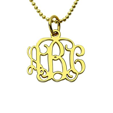 6274e55eb AILIN Personalized Small Monogram Pendent 3 Initial Nameplate Necklace  Custon Monogramed Initials Necklace Nameplate Gold Plated