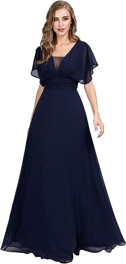 1930s Evening Dresses | Old Hollywood Silver Screen Dresses Ever-Pretty Womens Elegant V-Neck Formal Evening Dresses 7851 $54.99 AT vintagedancer.com