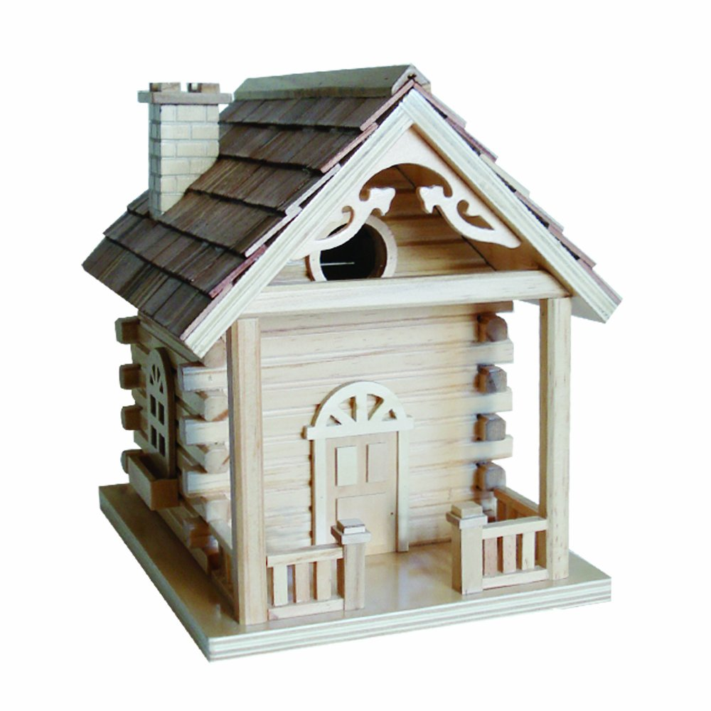 Home Bazaar Cabin Birdhouse, Natural