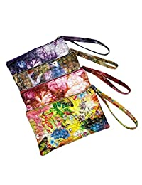 Women Multicolor Retro Floral Print Zipper Phone Card Holder Wallet Purse Clutch Handbag Money Clip