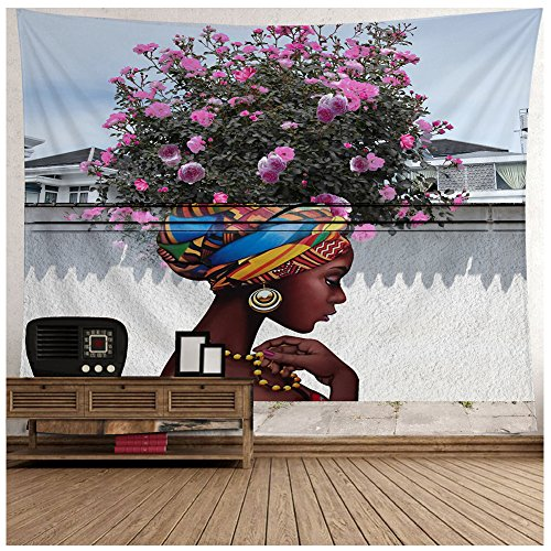 African Wall Tapestry - YI Curtain African American Afro Girl Tapestry for Living Room, Wall Hanging for Bedroom Living Room Dorm, 80 W X 71 L Inches