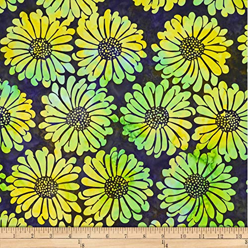 Batik by Mirah Green Glow Florals Citronelle Yellow  Fabric by the ()