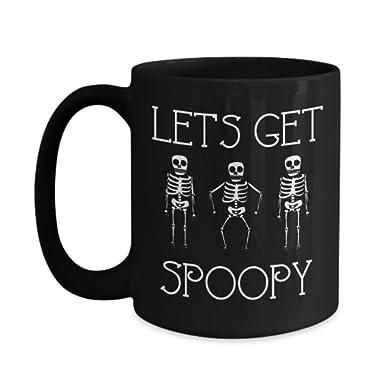 Let's Get Spoopy Dancing Skeletons Black Ceramic Mug