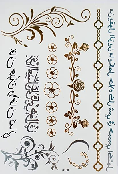 spestyle kühle Tatuajes temporales metálicas Tattoo Black & Silver & Oro Joyas De Cadena, flores