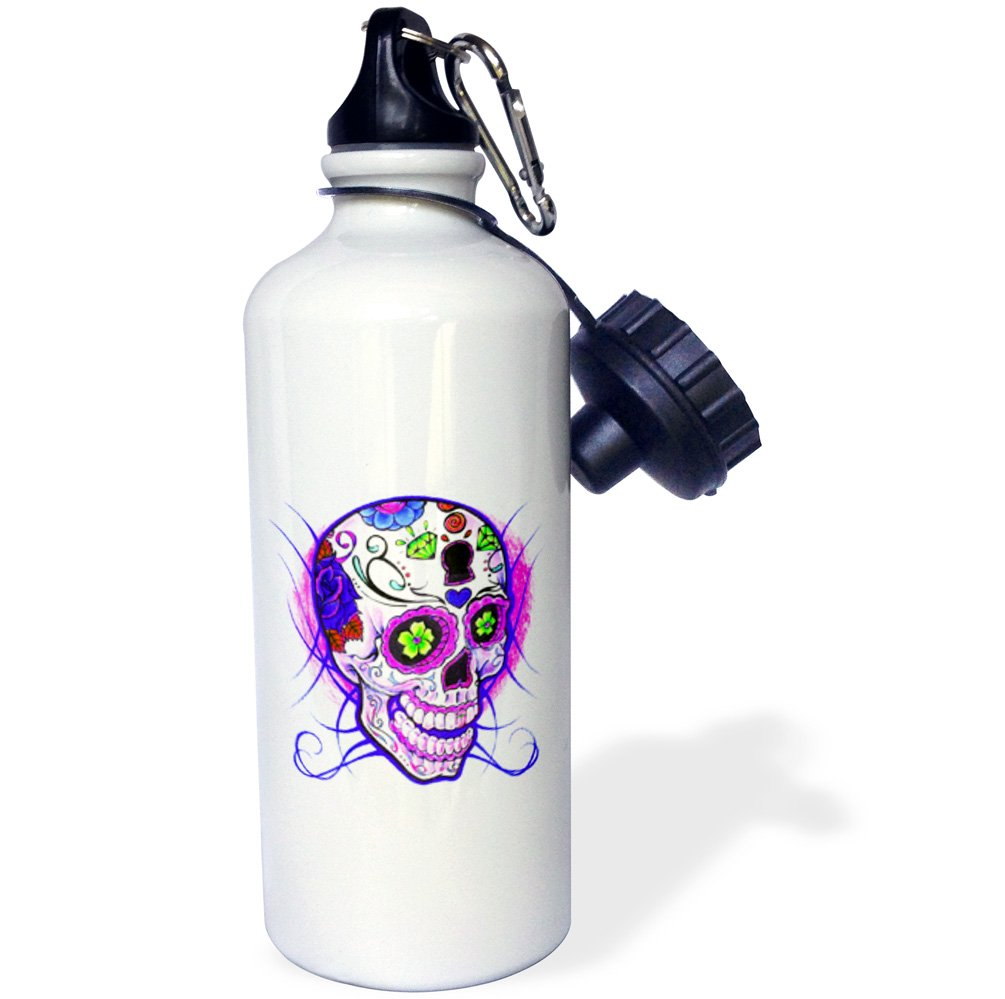 21oz wb/_193527/_1 21 oz Multicolored Purple -Sports Water Bottle 3dRose Diamond Sugar Skull