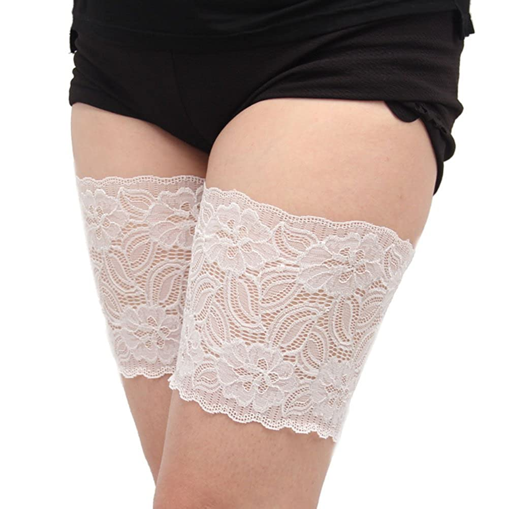 1 Pair koobea Elastic Lace Thigh Bands with Anti Slip Silicone Anti Chafing Thigh Bands Prevent Rubbing