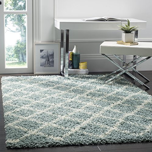 Safavieh Dallas Shag Collection SGD258C Seafoam and Ivory Area Rug (8' x 10')