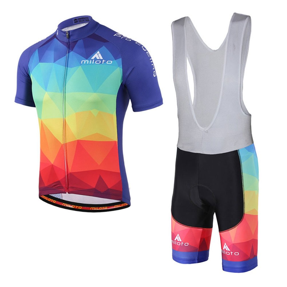 Uriah Men 's Cycling Jersey Bib Shortsホワイトセット半袖Reflective B06Y1VXV2B XXXX-Large|Triangle Blocks Triangle Blocks XXXX-Large