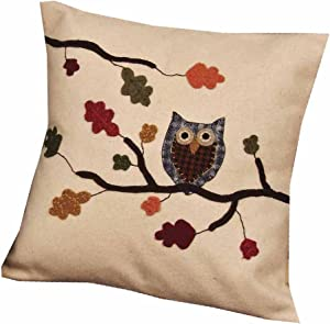 """Home Collection by Raghu Harvest Owl Cream Pillow, 18"""" x 18"""""""