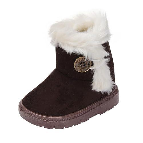best sneakers d3da0 bba68 HUHU833 Kinder Mode Baby Mädchen Stiefel, Warme Watte Gepolsterten Schuhe  Fell Boots Knopf warm gefüttert Baby Schlupfstiefel Schneestiefel