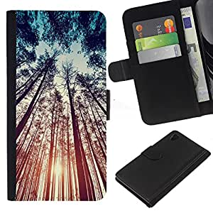 A-type (Forest Nature Summer Sky Ray) Colorida Impresión Funda Cuero Monedero Caja Bolsa Cubierta Caja Piel Card Slots Para Sony Xperia Z4v / Sony Xperia Z4 / E6508