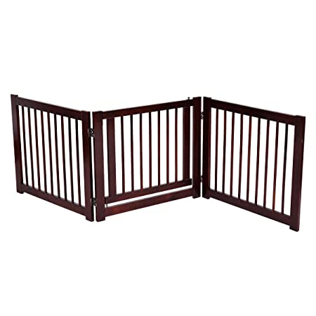 Giantex 24 Configurable Pet Gate Folding Free Standing 3 Panel Wood Pet Dog Safety Fence w Gate