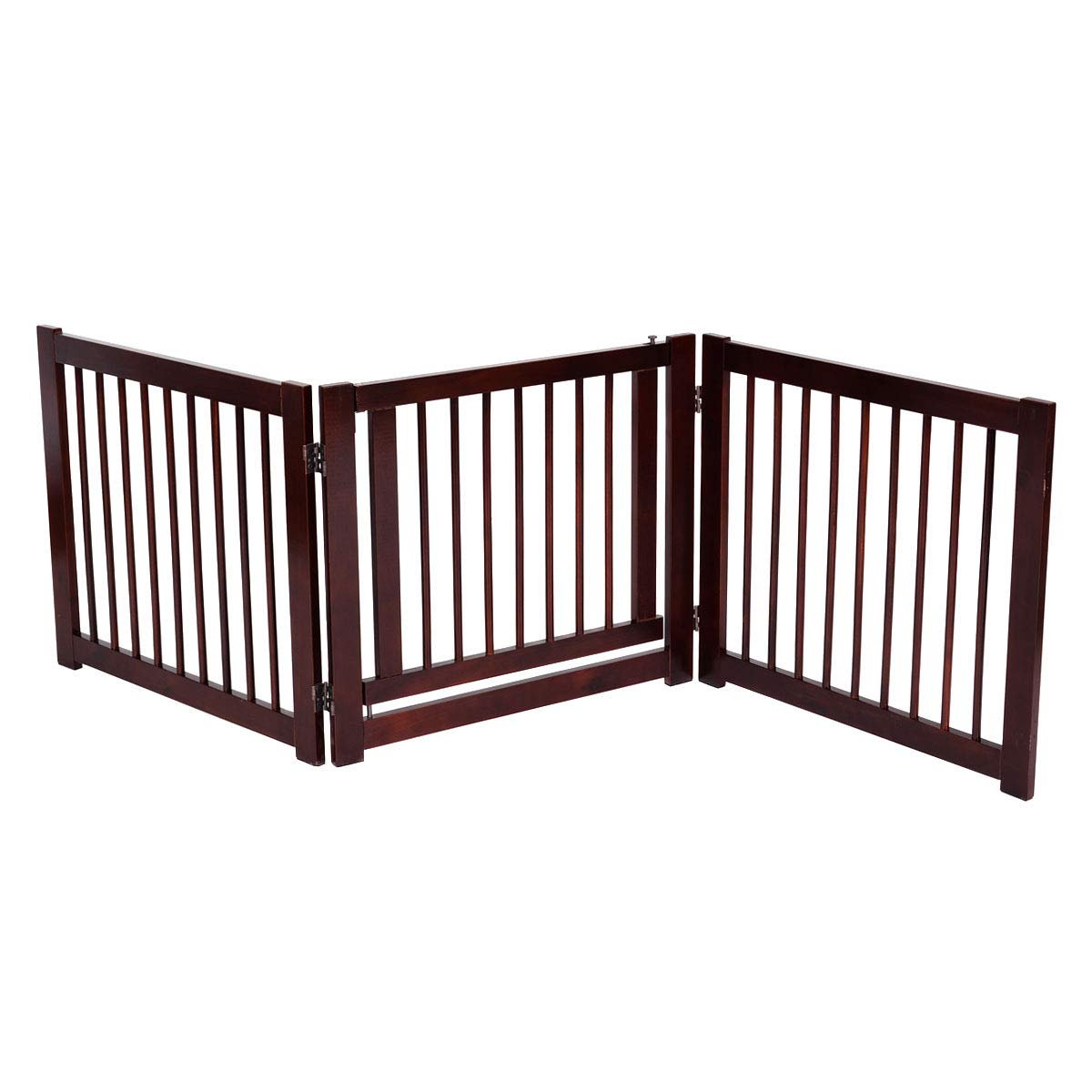 Giantex 24'' Configurable Pet Gate Folding Free Standing 3 Panel Wood Pet Dog Safety Fence w/Gate