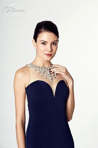Tiffanys Illusion Prom Naomi Black Jersy Bead Detail Prom Dress UK 12 (US 8): Amazon.co.uk: Clothing