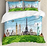 Ambesonne Map Duvet Cover Set King Size, Famous Historical Monuments of the World Theme Holiday Travel Destinations, Decorative 3 Piece Bedding Set with 2 Pillow Shams, Light Blue Green Ivory