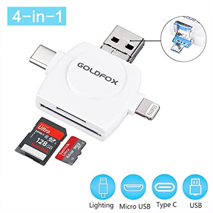 GoldFox SD Card Reader, Micro SD TF USB C Card Reader for iPhone iPad Android Mac PC, 4 in 1 Memory Card Reader Adapter Viewer for Trail Game Camera ...