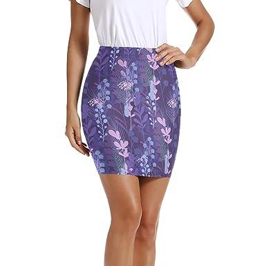 LUPINZ Mini Falda elástica Ajustada con patrón de Flores de ...