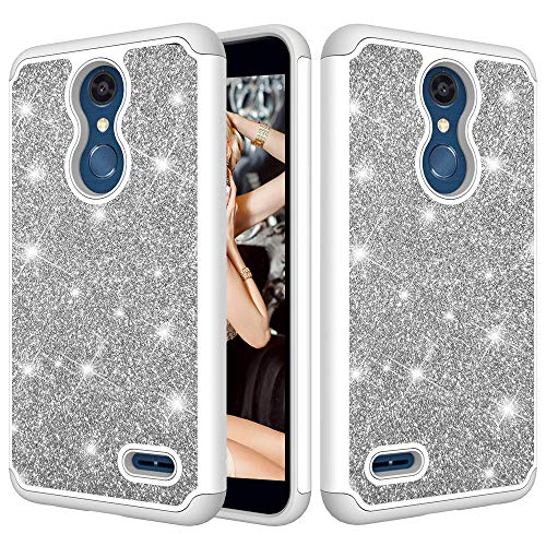 (LG K30 Case,LG Premier Pro LTE Case, LG Phoenix Plus Case Case,ZERMU 2in1 Slim Fit Luxury Glitter Pretty Hard Shell Hybrid Rubber Bumper Bling Sparkly Shining Fashion Style Case for K10 2018)