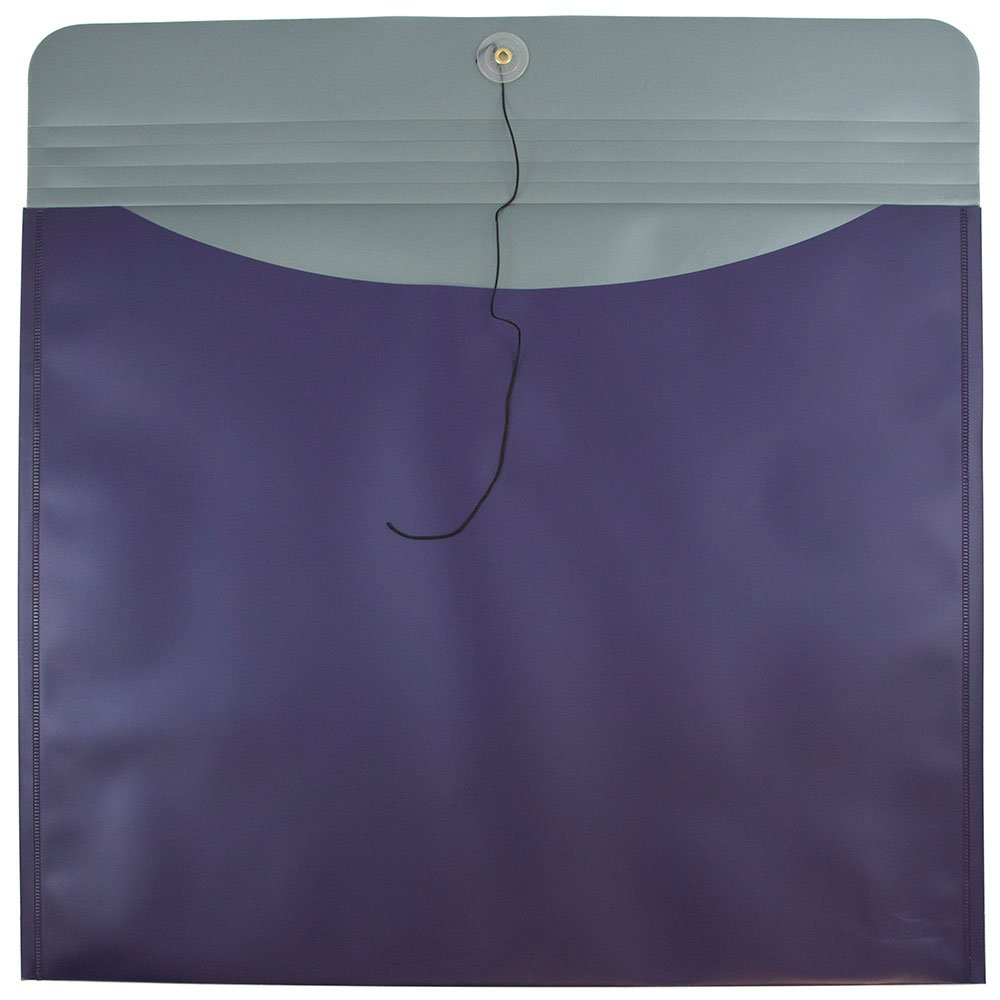 JAM PAPER Plastic Envelopes with Button & String Tie Closure - Large Booklet - 15 x 18 - Metallic Purple - 12/Pack by JAM Paper (Image #3)