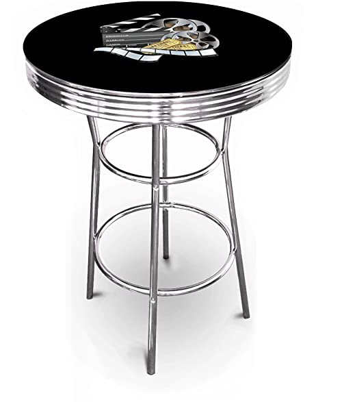New Movie Theater U0026 Popcorn Themed 42u0026quot; Tall Chrome Metal Bar Table  With Black Table