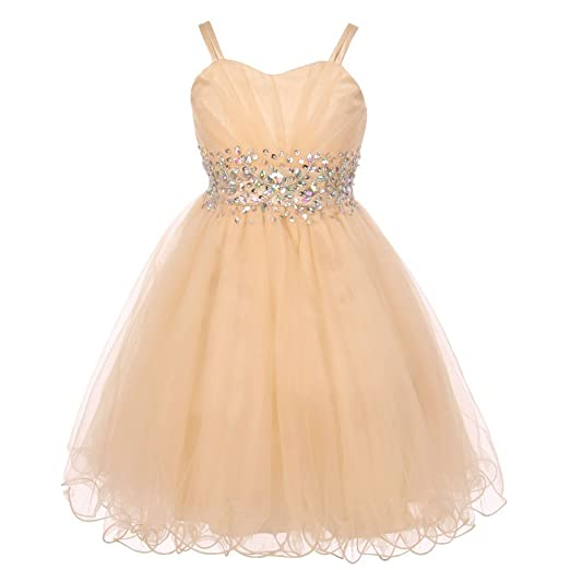 0439d122143 Cinderella Couture Big Girls Champagne Stone Encrusted Pleated Tulle Junior  Bridesmaid Dress 8