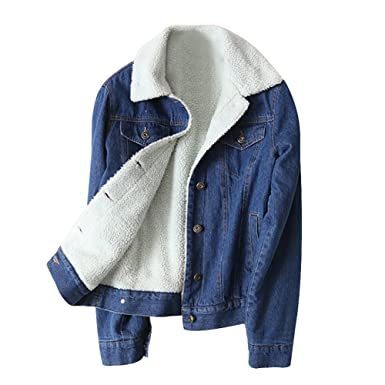 e033520ea92 Amazon.com  Women s Thicken Lambs Wool Denim Jacket Loose Jean Coat ...