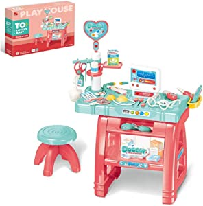 wodtoizi Kids Dentist Medical Playset Doctor Dentist Kit Toy w Table and Chair Pretend Play Set w Sounds and Lights Boys Girls Toddler Birthday School Classroom Party Role Play Toys