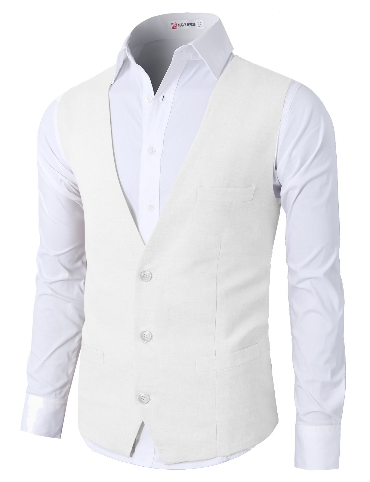 H2H Men's Fashion V-Neck Sleeveless Button Down Business Suit Vest Waistcoat White US XL/Asia 2XL (CMOV039)
