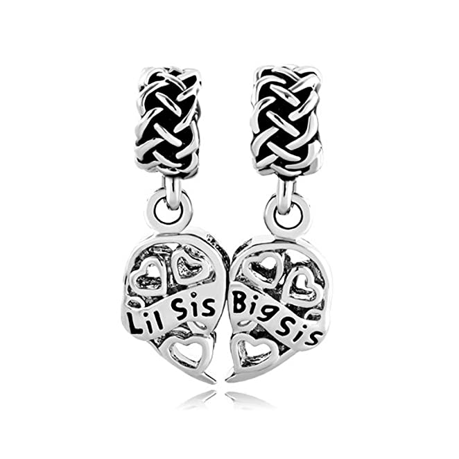 c86420fd2 Amazon.com CharmsStory Sister Heart Love Big Sis Puzzle Charm Celtic Knot Beads  Charms For ...