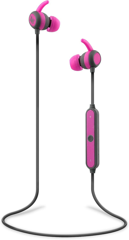 Auriculares inalámbricos y ergonómicos con conexión Bluetooth 4.1 - Micrófono y control de volumen integrado. Color rosa y gris.